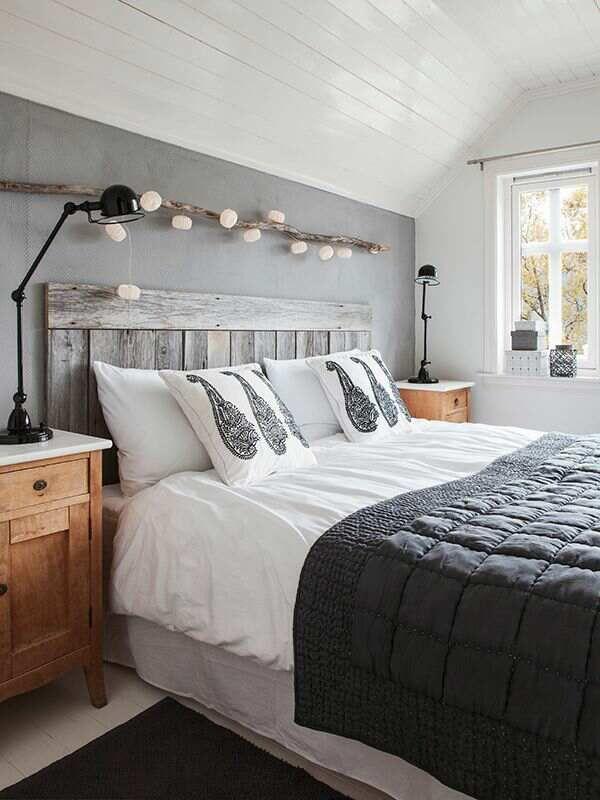 chambre grise, chambre blanc et noir, chambre ton de gris,