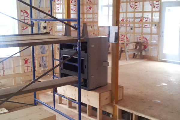 Installation du foyer et de la cheminée