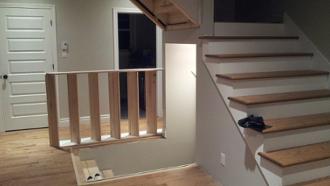 escalier bois franc, rampes bois franc, rampe mezzanine,