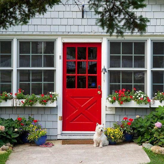 porte rouge, porte maison rouge, porte d'entrée rouge,