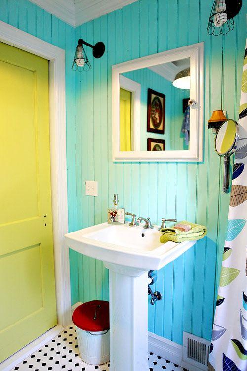 ide pour une salle de bain turquoise - Salle De Bain Jaune Et Turquoise