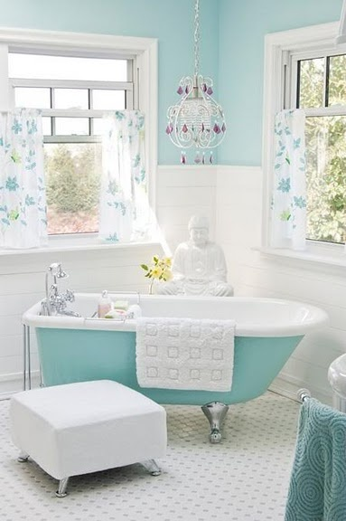 bain turquoise, idée déco salle de bain, |
