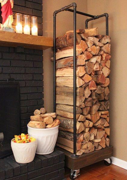 rack métal bois de chauffage, support bois de chauffage métal,