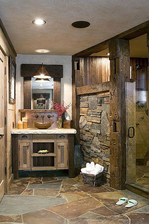 salle de bain rustique, rustic bathroom,