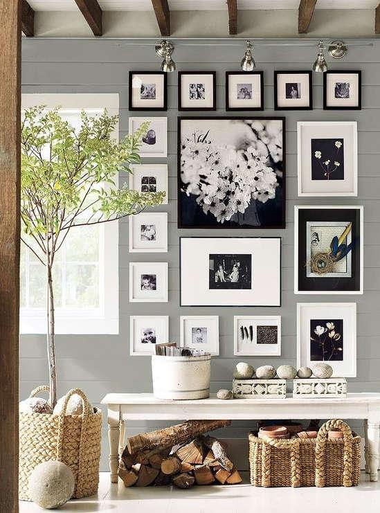 mur de cadres, mur de photo,