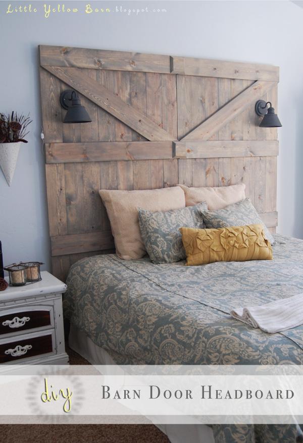 Tête de lit rustique avec lampe de lecture