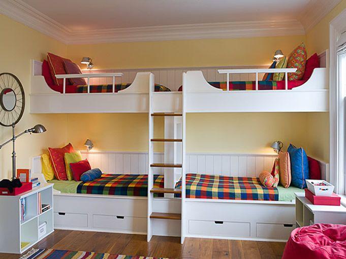 lits superposés 4 enfants, 4 enfants chambre à coucher,