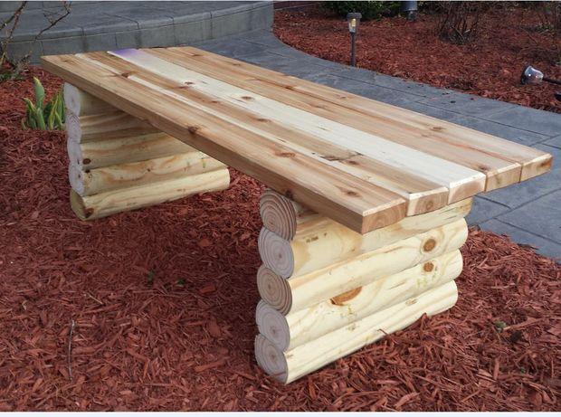 Banc en bois extérieur, banc avec bûches,