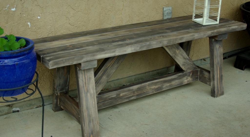 banc en bois rustic, banc extérieur en 2x4,