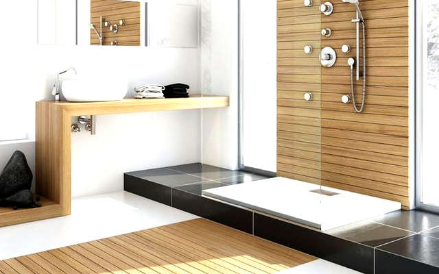 une jolie salle de bain zen et calme. Black Bedroom Furniture Sets. Home Design Ideas