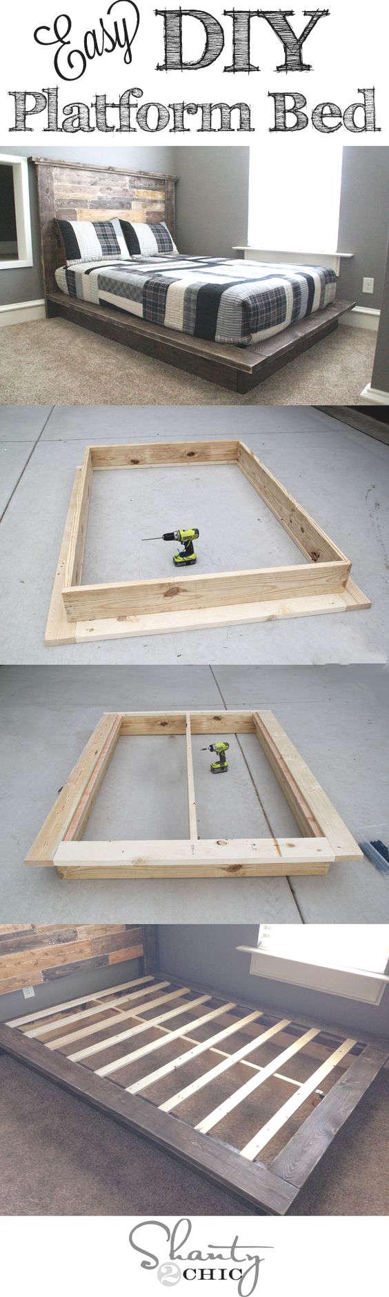 Diy Fabriquer Un Lit Plate Forme  # Fabriquer Un Classeur En Bois