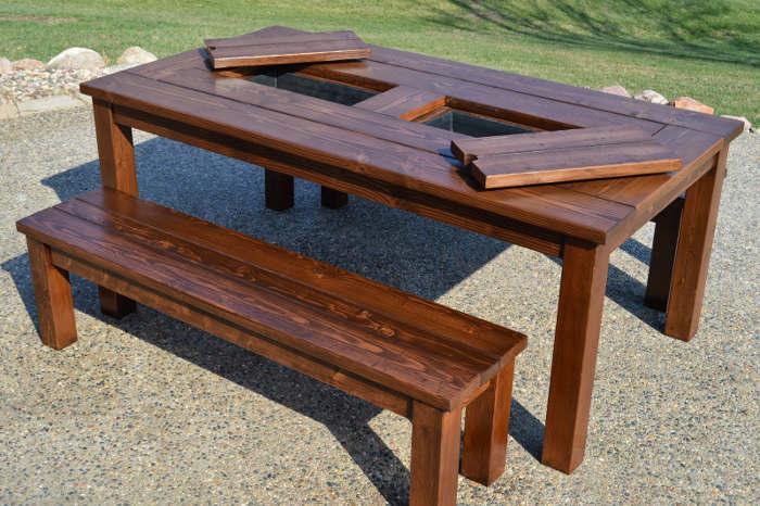 Plan table de patio avec espace à glaçon