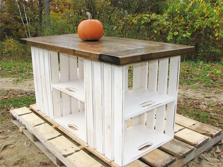 fabriquer un lot de cuisine avec des caisses de bois - Fabriquer Un Ilot De Cuisine