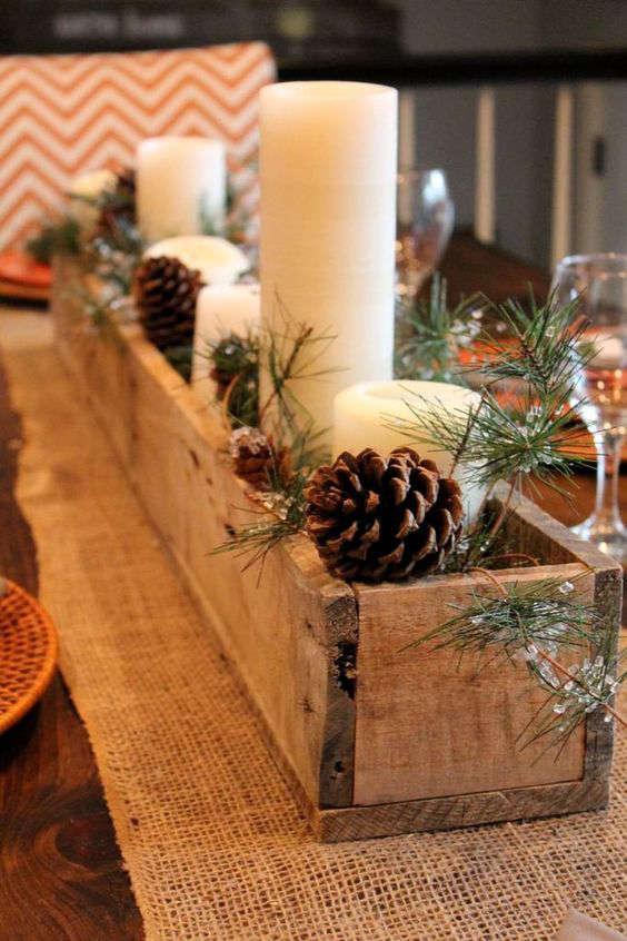 fabriquer un centre de table de Noël en bois